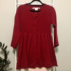 Max Studio Long Red Button Front Cardigan